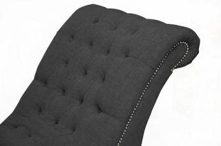 Dark Gray Grey Linen Fabric Modern Victorian Tufted Lounge Chaise Sofa Chair