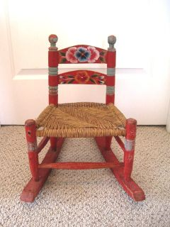 Hand Made Folk Art Mexican Wood Rocking Child's Chair Tole Painted Red Blue