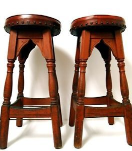 2 Antique Marietta Chair Company Marietta Ohio Wood Bar Stools w Red Vinyl Cover