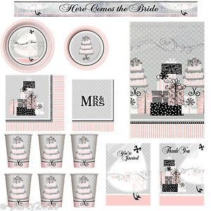 Pink Black Elegant Wedding Here Comes The Bride Bridal Shower Party Supplies