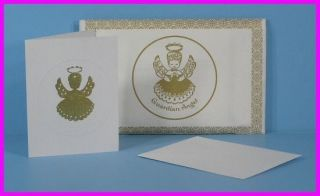 50 Embossed Blank Guardian Angel Note Greeting Cards with Envelopes New