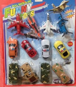 Set Cars Pack Pull Back Racing Cars Toy Police Jeep Van Military Boys Plane Kids