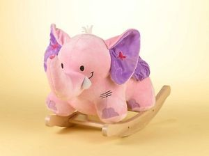 New Bella The Pink Elephant Rocker Musical Rocking Horse Animal Riding Toy