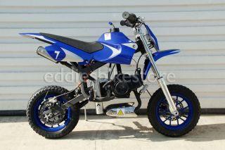 Blue Mini Moto Kids Dirt Pocket Bike Motorcycle 2 Stroke Gas Engine No CA Sale