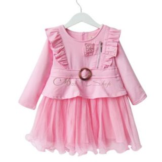 Girls Kids Long Sleeve Ruffle Shoulder Party Pageant Tulle Dress Clothing Sz 3 7