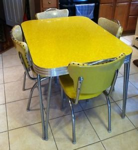 Vintage Chrome Kitchen Table Retro kitchen table and chair set dinette dining vintage chrome formica yellow antique mid century chrome formica kitchen table chair set 1954 workwithnaturefo