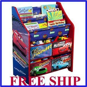 Disney Cars Book and Toy Organizer Box Bookshelf Kids Room Boy Free SHIP New