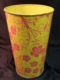 Yellow and Pink Metal Decoupage Handmade French Bucket Perfect for Flower Pail