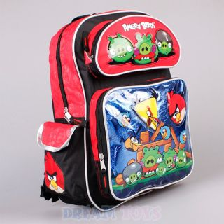 """Rovio Angry Birds Backpack 16"""" Large Blue Red Book Bag Boys Girls Kids"""