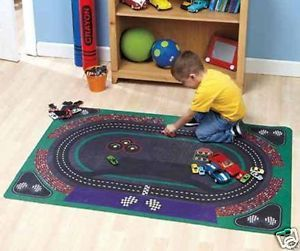 Kids Play Race Car Track Mat Area Rug Toy Activity Playroom School Grand Prix