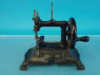 Small Antique Hand Cranked Sewing Machine Heavy Cast Metal Base Frame Kids Toy