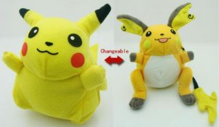 Pokemon Raichu Pikachu Changeable Plush Toy Doll