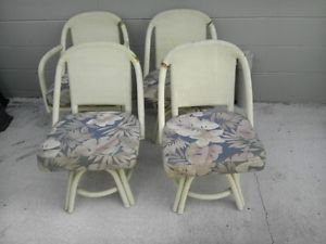 Set of 4 Shabby Country Rattan Bamboo Wicker Swivel Side Chairs Fabric Seats
