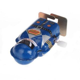 Blue Vintage Mini Wind Up Clockwork Tin Toy Robot Magic Boy Collectable Gift New