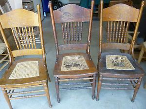 ... Antique Oak Pressed Back Chairs Double Press Back Cane Seats Need  Refinishing 3 ...