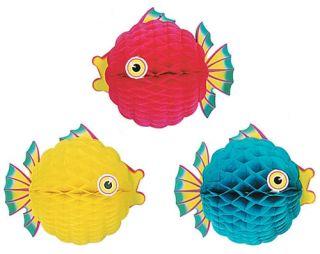 1 Honeycomb Bubble Tropical Fish Theme Party Decoration