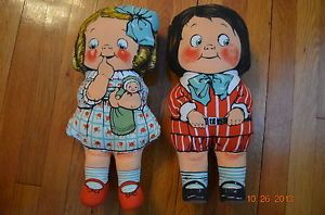 Vintage Dean's Rag Doll Knockabout Dolly Dingle Campbell Kids Cloth Doll Set