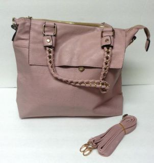 Ou LAN Ya Cute Pink Gold Faux Leather Women's Handbag Gold Chain Handle Zipper