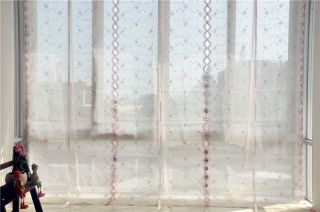 Country Style Hand Embroidered Pink Roses Balloon Shade Sheer Voile Curtain E15