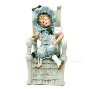Antique German Bisque Girl Figurine Sitting in Chair Doll Signed s Dep