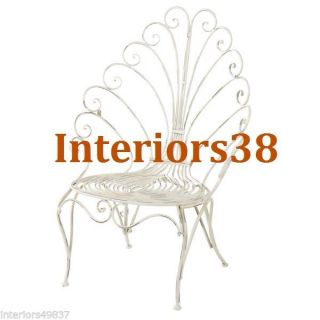 Antiqued White Iron Scroll French Chic Patio Chair Shabby Country Cottage Garden