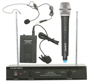 Dual Channel VHF Wireless Microphone System with Handheld Lapel Headset