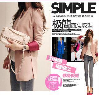 New Fashion Autumn Women's Candy Color Slim MD Long Suit Blazer Coat Jacket Hot