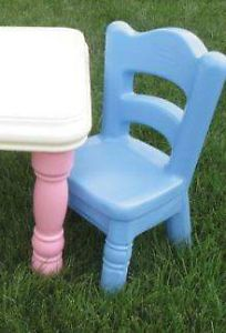 Nice Little Tikes Blue Child Sized Toddlers Hard Plastic Victorian Cottage Chair
