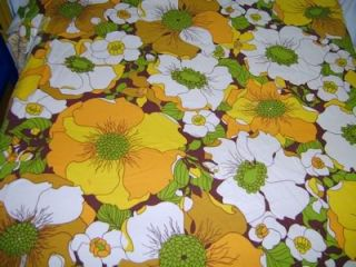 Vintage Retro Funky Twin Flat Sheet Fabric 70's Mod Flowers Brown Yellow Orange