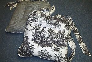 French Country Chair Cushion Waverly Country Life Toile Black Ivory Custom Made