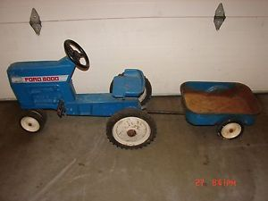 Vintage Huge Ertl Blue Ford 8000 Pedal Car Tractor Toy Ride Cart Restore Project