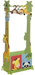 Teamson Storage Unit Sunny Safari Kids Wood Valet Clothes Rack w Hangers TD0045A