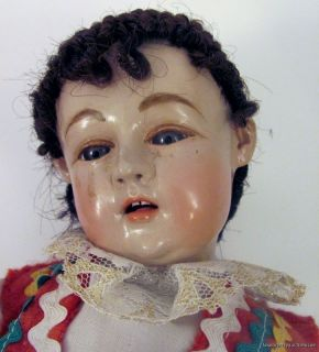 Antique Doll RARE Old Religious Creche Jesus Santos Boy Thorn Italy Crown Raylc