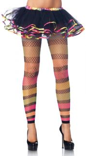 Sexy Multi Color Rainbow Striped Fishnet Footless Tights Pantyhose Stockings New