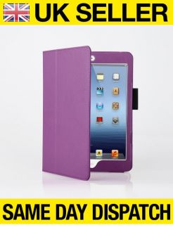 Purple Leather Case Stand for iPad Mini with Magnetic Sleep Wake Function