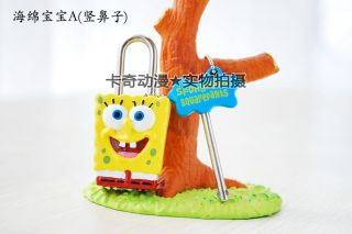 Cute Lock Key Doraemon Stitch Mario Spongebob Rabbit Cartoon Mini Lock Toy