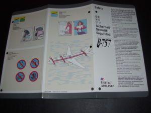 1992 United Airlines Passenger Safety Card B757 Escape Slide Exits