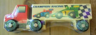 Wooden Semi Truck Champion Racing Cars USA Toy New