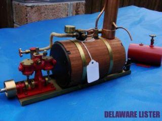 Horizonal Boiler Miniature Live Steam Twin Cyl Oscillating Gas Engine w EXTRAS
