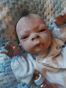 Reborn Cute Vampire Baby Boy Preemie Art Horror Doll Fangs Mouth Blood OOAK