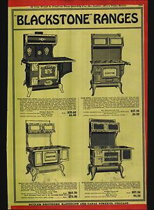 1920 Ad Blackstone Ranges Wood Burning Stoves Cast Iron Parlor Heaters
