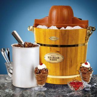Wooden Bucket Electric Ice Cream Maker 4 Quart Old Fashion Machine Icmw 400