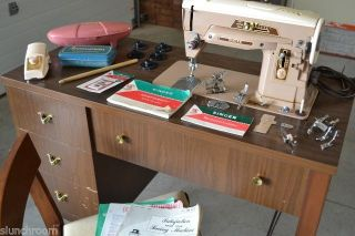 Singer 403 Special Sewing Machine w Built in Desk Chair Many Accessories