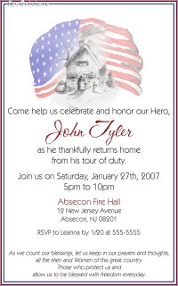 Patriotic Welcome Home Troops Soldier Party Invitations