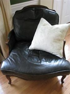 Antique Ethan Allen Versailles Leather Embossed Chair