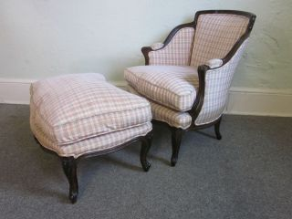 Custom Made French Louis XV Bergere Living Room Chair Ottoman