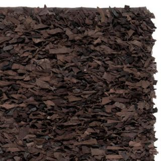 Safavieh Leather Shag Dark Brown Rug