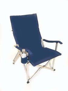 "Luxury ""Rust Proof""Lightweight All Aluminum Folding Lawn Chair Navy Blue Bag"