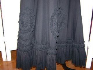 Best Lucy Paris Embroiderey Sequins Raised Rosettes Maxi Peasant Skirt Size M