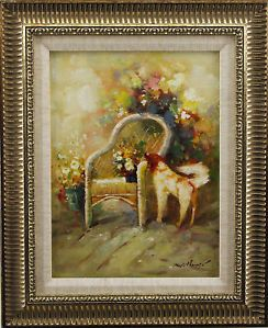Still Life Flowers Garden Porch Chair Dog Floral Room Art Framed Oil Painting
